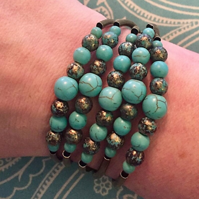 Turquoise /& Brass Stretch Bracelet Necklace Choker Anklet Bohemian-style Convertible Jewelry by Captivating Capricorn Beaded Jewelry