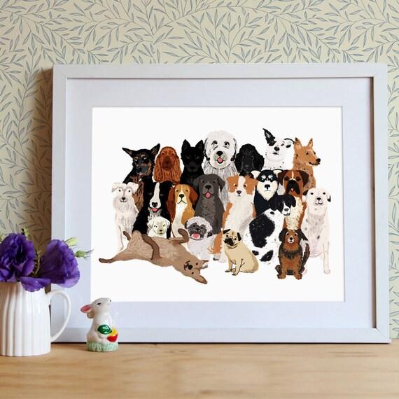 Perros ilustración cachorros ilustración lámina para | Etsy
