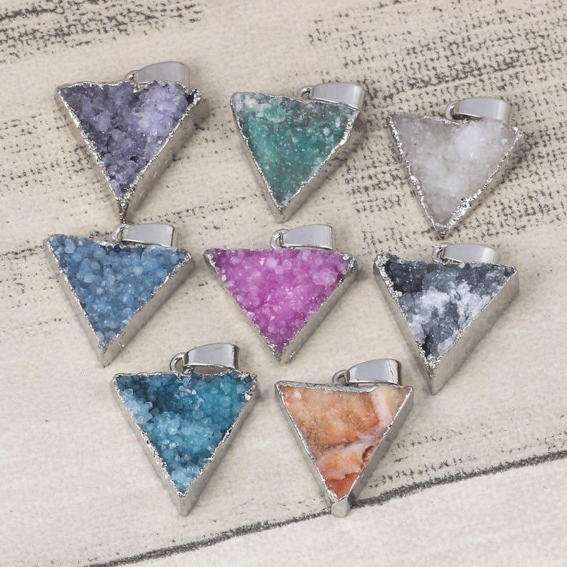 3 Arrowhead Pendant Sliver Plated Druzy Pendant Colorful Quartz Stone Triangle Charms Healing Gemstone Jewelry Making DIY Pendant Supplies