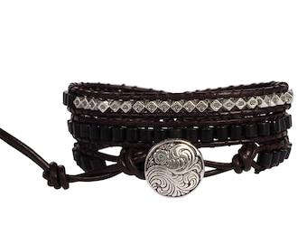 Black agate leather wrap bracelet, beaded wrap bracelet, leather bracelet, gemstone leather wrap bracelet, agate boho bracelet