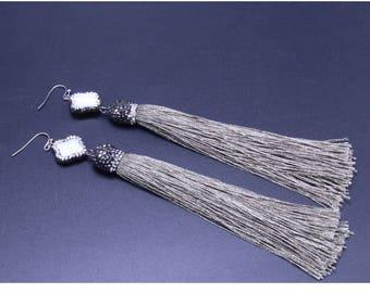 Boho Tassel Earrings,Tassel Dangle Earrings,Long Tassel Jewelry,White Shell Earrings,Shell Carved Jewelry