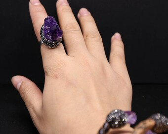 Amethyst Ring,Nature Stone Ring,Purple Druzy Ring,Raw Quartz Ring,Amethyst Silver Ring,Silver Knuckle Ring Personalized Stackable Ring