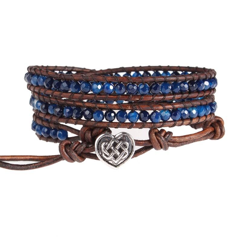 3cd3884d7f773 Handmade Triple Leather Wrap Bracelet, Natural Agate Beaded Bracelet,  Beaded Wrap Bracelet, Women Men Personalized Wrap Bracelet