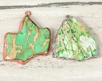 3 Pieces Green Beach Jasper Pendant Jasper Stone Druzy Pendant Rose Gold Sliver Plated Healing Jasper Necklace Beads Sheet Accessories