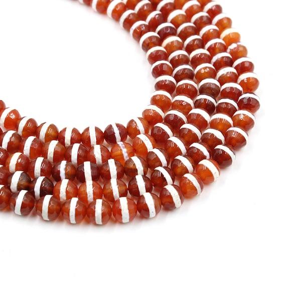 Single Line Beads: 10mm Red Tibetan Agate Dzi Round Beads One Line Dzi Bead