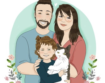Custom family portrait - 4 people