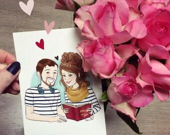 Portrait de couple personnalisé - Fichier Digital