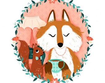 Sam the Squirrel and his fox lady - Print