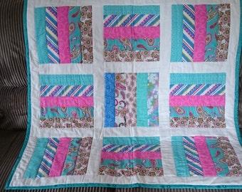 Bright stripy block quilt