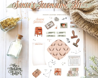 4 Bullet Journal & Planner Printable Set - Christmas/Holiday Sticker Kit - BuJo Printable Decorative Elements - 4 Pages
