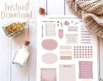3 Bullet Journal & Planner Printable Set - Autumn/Fall Sticker Kit - BuJo Printable Decorative Elements - 3 Pages + Bonus Journaling Card