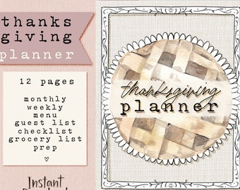 Printable Thanksgiving Planner - 8.5x11 Holiday Planner - Thanksgiving Organizer Kit - Menu Planner, Shopping List, Monthly & Weekly Planner