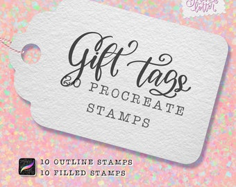 Procreate Stamp Brushes - 20 Gift Tag Stamps for iPad Procreate - Holiday Tags | Christmas Gift Tags