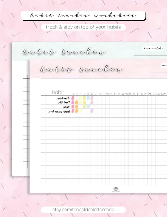 graphic regarding Printable Goal Tracker titled Month to month Behavior Tracker Printable - Objective Tracker - Reason Natural environment Planner Letter Dimension Instantaneous Down load
