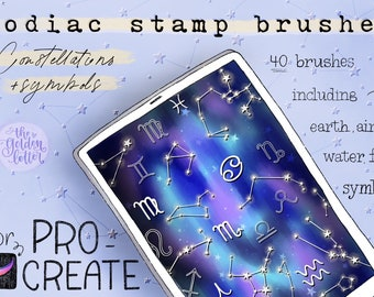 Procreate Stamp Brushes, Set of 40 Zodiac & Constellation Stamps, Astrology Digital Brushes for iPad Procreate, iPad Paint Brushes, iPad Art