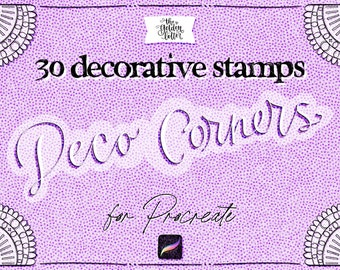 Procreate Stamp Brushes -DECO CORNERS Stamps for iPad Procreate - Decorative Corner Stamps for Design