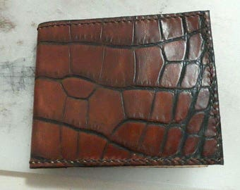 Portfolio Wallet Leather wallet crocodile wallet man wallet minimalist