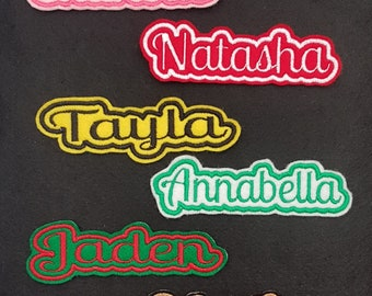 LARGE Personalised Embroidered Name Patch Badge Iron on sew on
