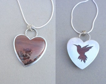 Sweet Apache Sage Rhyolite Heart, Sterling Silver, Pendant, Apache Sage Rhyolite, Cabochon, Mauve, Maroon, Scenic, Hummingbird, Mother's Day