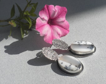 Dendritic Opal Earrings, Sterling Silver, Agate, Cabochons, White, Black, Oval, Textured, Dangling Studs, Handmade