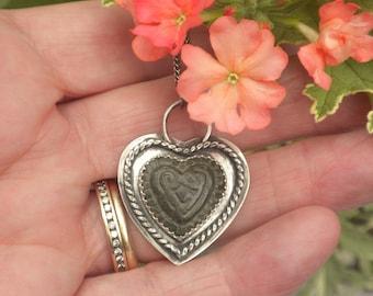 Antique Freyja Goddess Bronze Pendant, Sterling Silver, Antique Bronze Heart, Norse Goddess Freyja Shield, Viking Bronze Heart