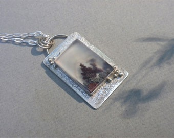 Lovely Scenic Dendritic Agate Pendant, Sterling Silver, Agate, Maroon, Brown, Green, Translucent, Rectangle, Organic, Handmade
