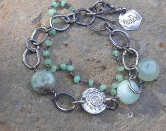 Chrysoprase Bracelet, Silver, Forged, Hammered, Oxidized, Chrysoprase Beads, Green, Rustic, Bracelet