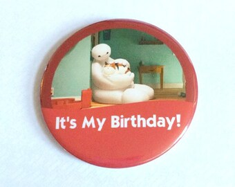"Big Hero 6 Baymax ""It's My Birthday!"" Disney Park Celebration Inspired Button Badge Pin"
