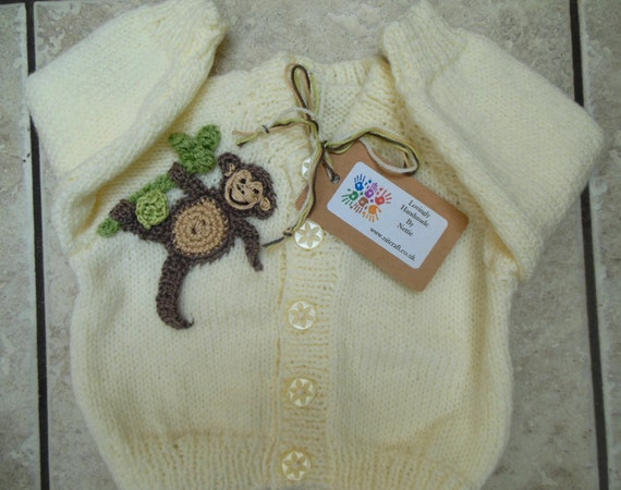 66eb216b4207 Monkey Sweater Hand Knit Baby Cardigan Knitted Jumper