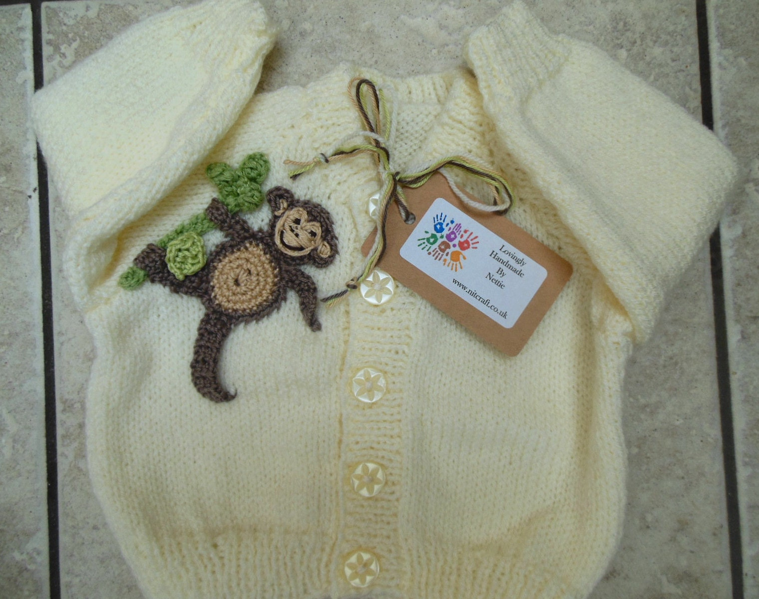 a3aa213827ee Monkey Sweater Hand Knit Baby Cardigan Knitted Jumper
