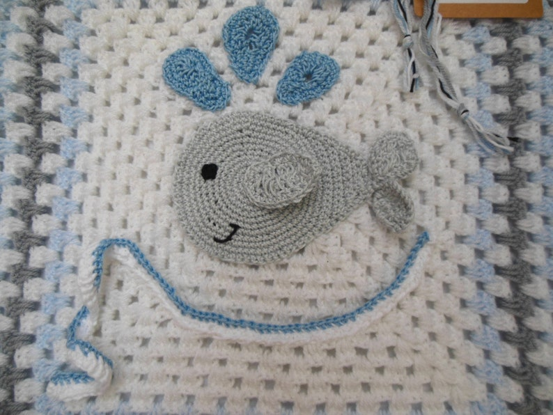 Whale Crib Size Warm Crochet Baby Blanket