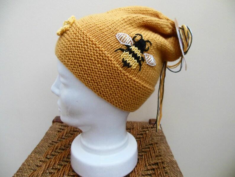041e6fcf706 Bee Hat Mustard Beanie Knit Hat Merino Wool Bee Hive