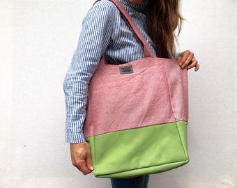 Pink Mint Tote Bag. Large Tote