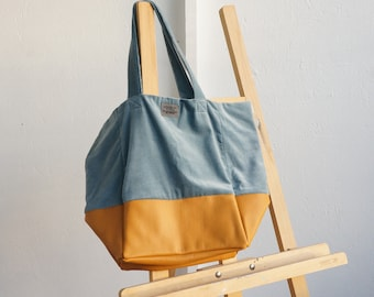 Velvet & Tan Tote Bag. Large Tote