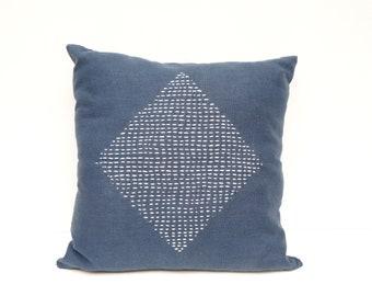 Blue Embroidered Cushion Indigo Japanese Hand-Embroidery Sashiko