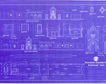 Railroad blueprint etsy southern pacific railroad depot glendale california handmade blueprint 24 x 36 18 scale malvernweather Image collections