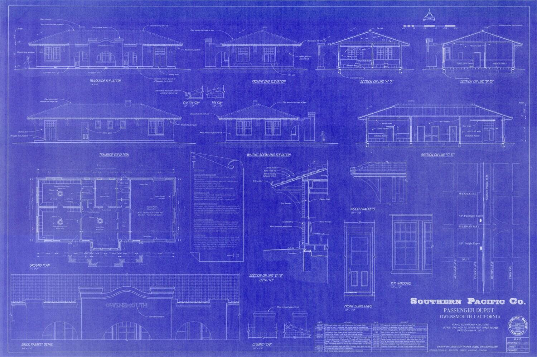 1912 Owensmouth, California - Southern Pacific Railroad Depot - Handmade  Blueprint (24