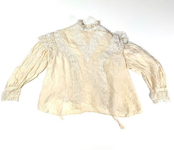 Antique Victorian Edwardian Silk Cream Blouse