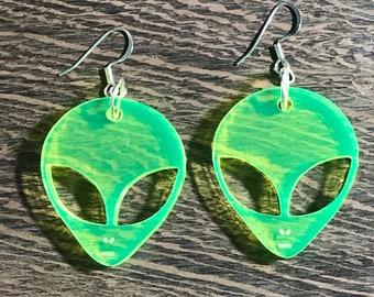 Flourescent Neon Alien Earrings