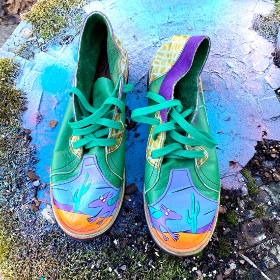 Vintage Handpainted Leather Oxford Shoes