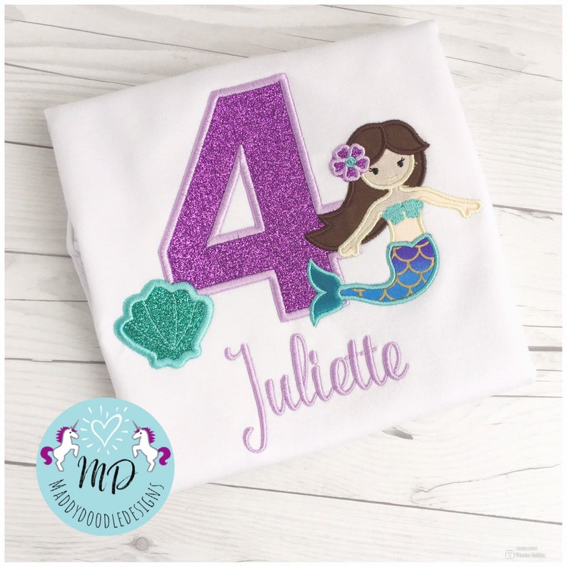 7th 3rd,4th Mermaid theme Mermaid Birthday shirt Under the Sea Personalized Applique Birthday shirt ONLY Available 1st 2nd 6th 5th