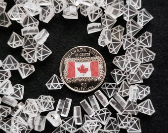 Cast Acrylic Diamond Shapes  - 0.35 inch (9 mm) Acrylic Shapes for Jewelry Crafts, Crafting, DIY Earrings - Coin not included