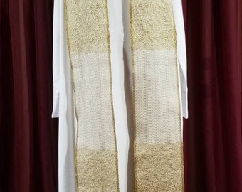 Brocade Style Gold/White Stole for Easter, Weddings, Christmas or Funerals