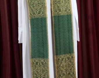 """Handwoven Brocade Style """"Epiphany/Ordinary Time"""" Clergy Stole"""