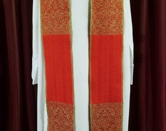 "Handwoven Brocade Style ""Pentecost/Ordination"" Stole"