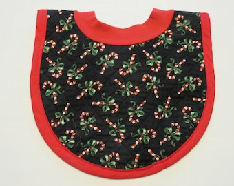Candy Canes Pop-on Quilted Baby Bib