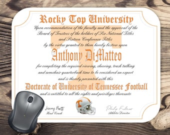 Personalized University of Tennessee Volunteers Football - Ultimate Fan Diploma** Mouse Pad - Makes a Great Gift for your sports fan