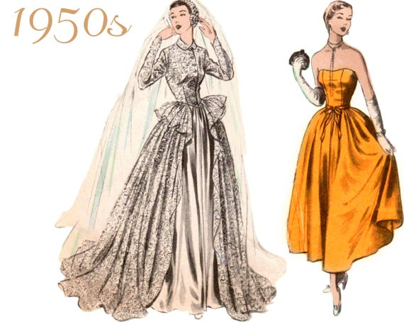 RARE 1950s Wedding Gown Pattern Lace Redingote Lace Coat
