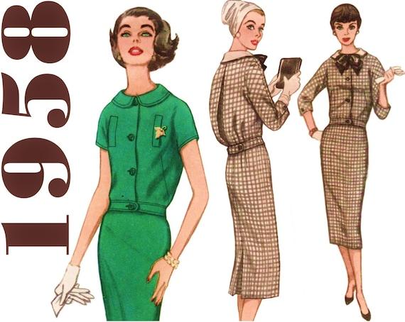 1950er Jahre Schnittmuster 2-teiliges Kleid Bleistiftrock | Etsy