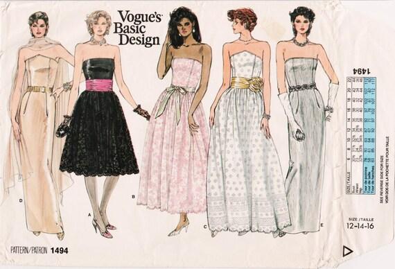 1980s Prom Dress Strapless Dress 1980s Cocktail Dress Vogue Etsy